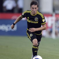 Columbus Crew's Ethan Finlay plays against Toronto FC during an MLS soccer game Saturday, July 25, 2015, in Columbus, Ohio.