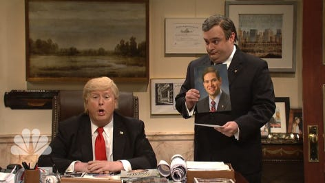 Bobby Moynihan's Chris Christie and Darrell Hammond's Donald Trump on Saturday Night Live.