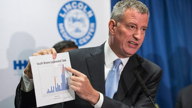 New York City Mayor Bill de Blasio speaks at a press conference to address the Legionnaire's disease outbreak in the city at Lincoln Hospital on Aug. 4, 2015 in the Bronx.