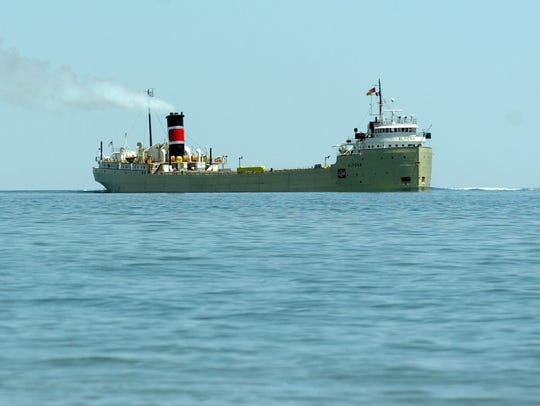 The freighter Alpena heads downbound in Lake Huron.