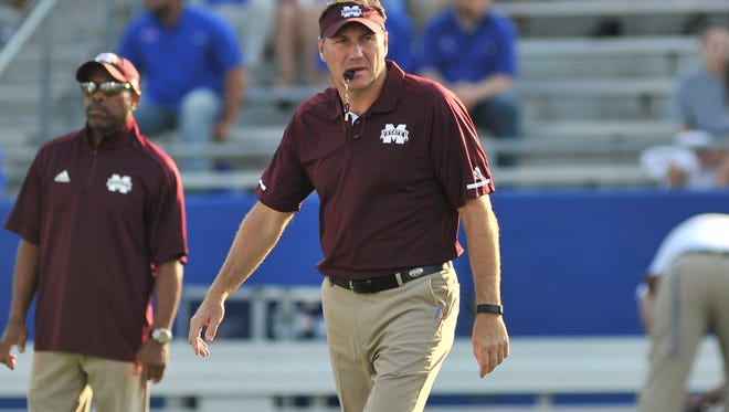Sep 9, 2017; Ruston, LA, USA; Mississippi State Bulldogs head coach Dan Mullen before the game against the Louisiana Tech Bulldogs at Joe Aillet Stadium. Mandatory Credit: Justin Ford-USA TODAY Sports