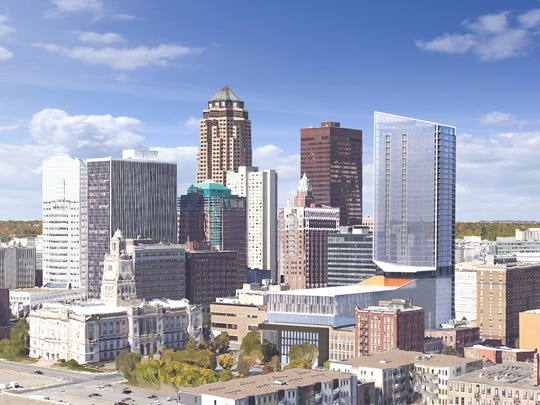 This is a rendering of how Mandelbaum Properties' 39-story downtown development with fit into the city skyline. The Fifth will include a hotel, apartments, parking garage, movie theater and retail space.