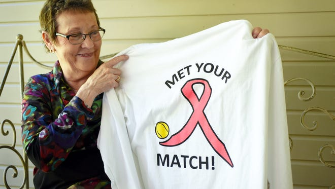 Breast cancer survivor Ann Harsh was inspired by her tennis team as they supported Harsh through chemotherapy treatments. Harsh was diagnosed a year ago and finished her last treatment this October.