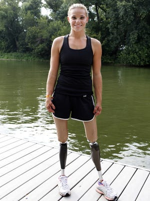 Oksana Masters on the Ohio River in July 2012. Masters and her partner Rob Jones were preparing for the Paralympics in London. They currently hold the third fastest rowing time in the world and are hoping to finish strong in the mix double skull competition. July 14, 2012