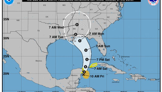 A forecast cone of Subtropical Storm Alberto for the next five days.