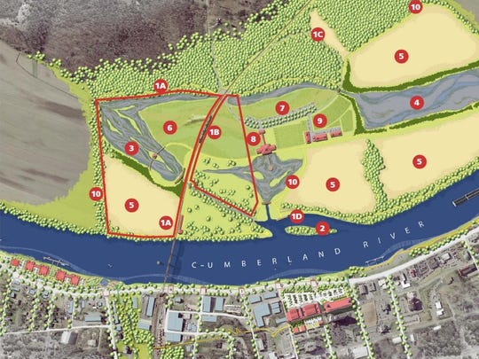 The West Bank vision in full, with the 80-acre property available for purchase outlined in red.