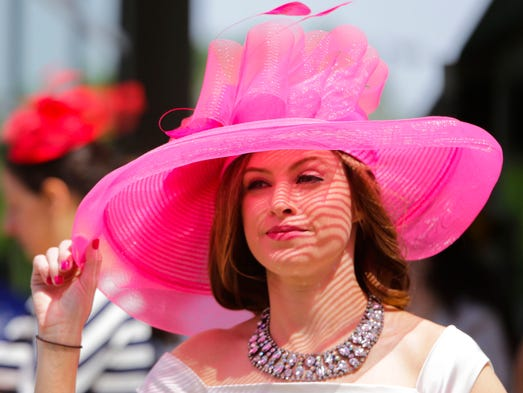 Anna Marie Payne  of Louisville purchased this hat at a yard sale for ten dollars after last years Derby. May 3, 2014