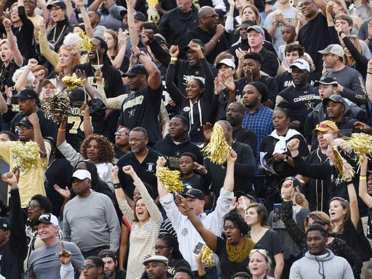 Vanderbilt's fans cheer for their team during the first