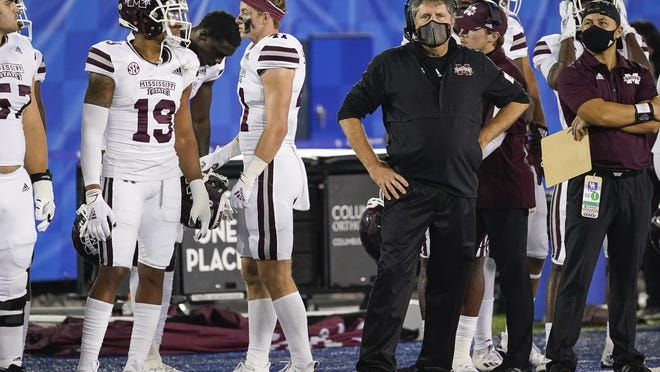 Mississippi State coach Mike Leach stands on the sideline during the second half of the team's NCAA college football game against Kentucky, Saturday, Oct. 10, 2020, in Lexington, Ky.