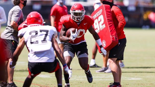 Georgia receiver Kearis Jackson (10) during the Bulldogs' practice session in Athens, Ga., on Wednesday, Aug. 19, 2020.