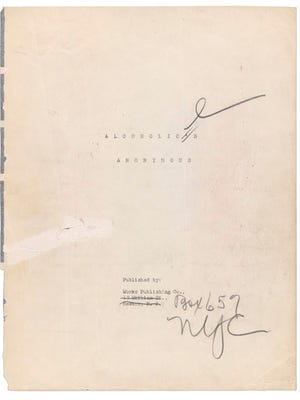 """This undated image released by Profiles in History shows the title page of a manuscript that would become the Alcoholics Anonymous """"Big Book,"""" which includes stories and strategies for controlling addiction. The 161-page typed manuscript includes handwritten notes by Alcoholics Anonymous founders, including co-founder William Griffith Wilson. It will be displayed at a New York City gallery for three days in May 2017 before being sold at auction in June in California in a sale that is expected to top $2 million."""