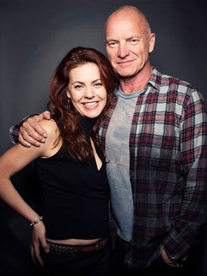"Grammy Award winning singer-songwriter Sting poses for a portrait with Rachel Tucker, who makes her Broadway debut in Sting's  musical ""The Last Ship"" at Neil Simon Theatre in New York."