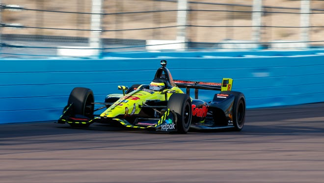 IndyCar driver Sebastien Bourdais during qualifying for the Phoenix Grand Prix at ISM Raceway.
