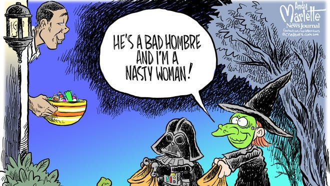 Halloween with a bad hombre and nasty woman Commentary from Andy Marlette.