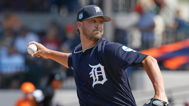 Tigers relief pitcher Jeff Ferrell (66) comes in to pitch during the second inning of the Tigers 6-2 exhibition loss to the Blue Jays Friday in Lakeland, Fla.