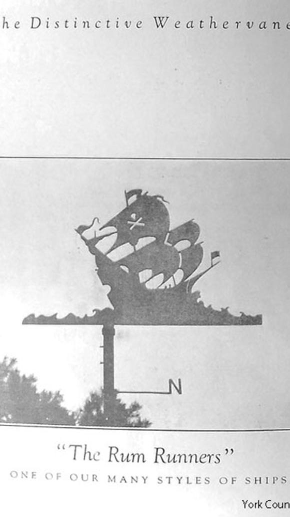 Old weathervane in a brochure
