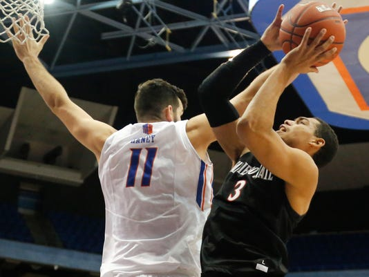 San Diego State's Trey Kell (3) shoots past Boise State's Zach Haney (11) during the second half of an NCAA college basketball game in Boise, Idaho, Saturday, Jan. 7, 2017. Boise State won 78-66. (AP Photo/Otto Kitsinger)