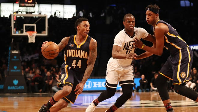 Feb 3, 2017; Brooklyn, NY, USA;  Indiana Pacers guard Jeff Teague (44) dribbles the ball during the first quarter against the Brooklyn Nets at Barclays Center.