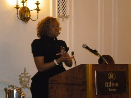 Tamela Franks speaks at an event in an undated photo.