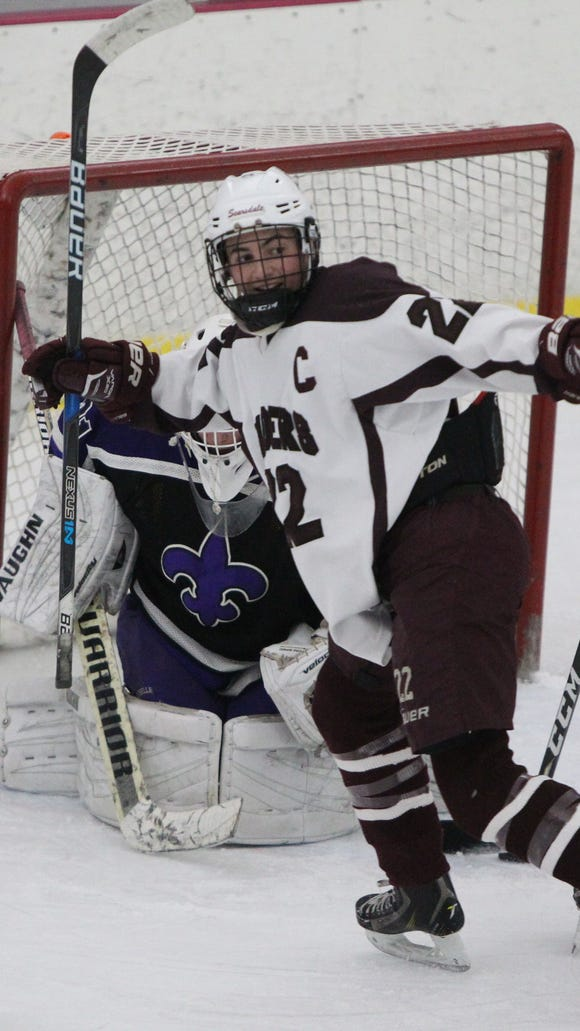 Scarsdale's Ben Schwartz celebrates a goal byJeremy Wolf against New Rochelle in a hockey Section 1 Division I playoff game at the Ice Hutch Feb. 16, 2018. Scarsdale won 5-2.