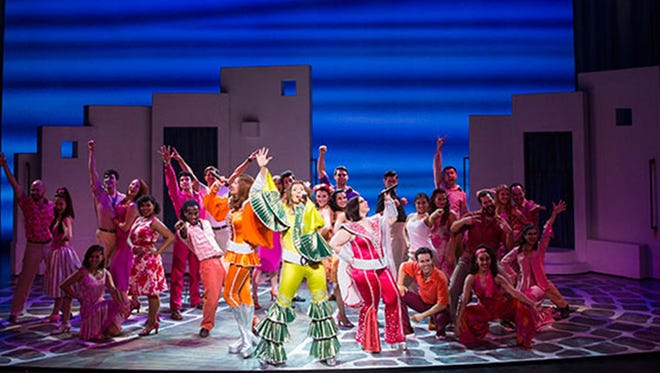 Cast of Mama Mia playing at the Fox Cities Performing Arts Center