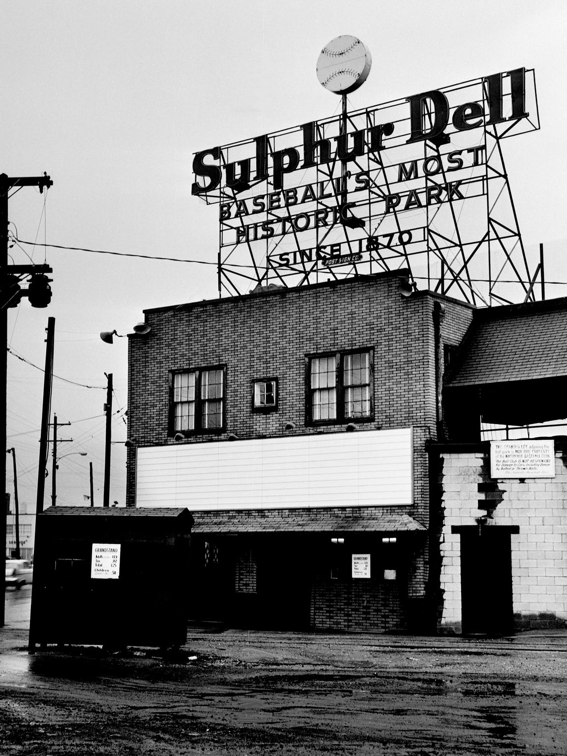 The front of the Sulphur Dell Baseball Park, home of