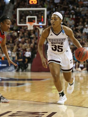 Mississippi State's Victoria Vivians (35) brings the ball across half court against Nicholls.