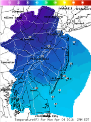 Temperatures Sunday night could drop into the low 30s.