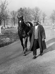 FILE - In this Nov. 25, 1939, file photo, Man o' War is led back to the barn by his lifetime caretaker and groom, Will Harbut, after exercising in Lexington, Ky. The Kentucky Derby Museum says it is planning a new exhibit next month on one of thoroughbred racing's most famous horses: Man o' War. (AP Photo/PS)