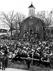 Selma-to-Montgomery marchers gathered in front of Dexter
