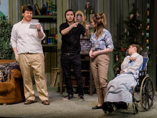 """Keith Rose, Wiley Ernst and Linze Zaniroli perform with an American sign language translator during a dress rehearsal for """"A Day in the Death of Joe Egg"""" at Shasta College."""