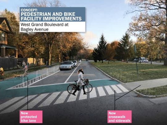 This is a concept rendering of pedestrian and bike facility improvements along West Grand Boulevard and Bagley Avenue from the West Vernor Corridor Neighborhood Framework.