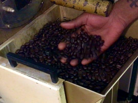 Freshly roasted coffee beans from Bennett's Fresh Roast