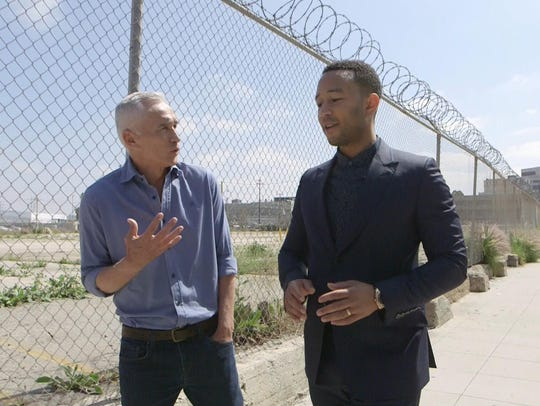 Jorge Ramos and John Legend walk and talk in an episode