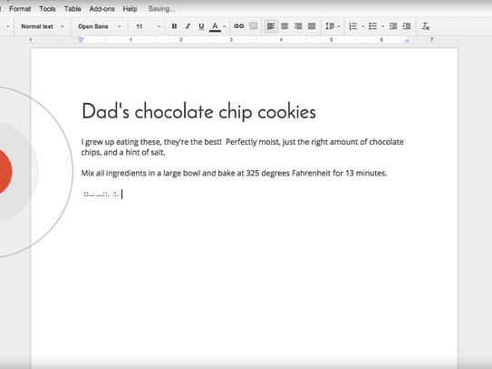 In a Chrome browser, launch your doc and then click the microphone button to begin speaking.