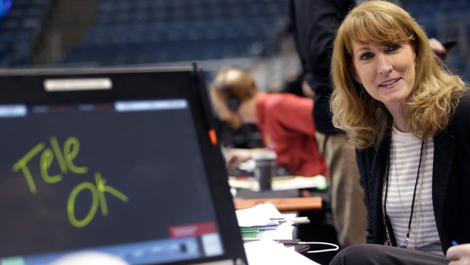 CBS color commentator Debbie Antonelli is shown during practice Wednesday before the first round of the NCAA Tournament at the BMO Harris Bradley Center in Milwaukee. She will be the first woman in that job at the NCAA men's tournament in more than 20 years.