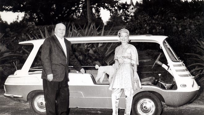 Ralph Evinrude and Frances Langford with her 1957 Fiat Marinella, Franny L.