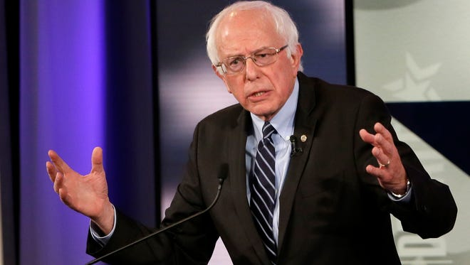 Bernie Sanders makes a point during a Democratic presidential primary debate in Des Moines, Iowa, on Nov. 14, 2015.