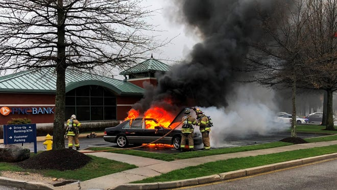 Firefighters quickly dealt with a car fire Wednesday morning.