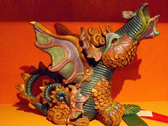 Among Stacy Schwarz's creations are intricately sculpted, award-winning dragons.