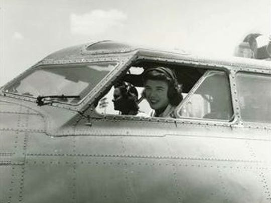 "Dawn Rochow Balden Seymour, who was a member of the Women Airforce Service Pilots, is seen in a B-17, a World War II-era bomber known as the ""Flying Fortress."""