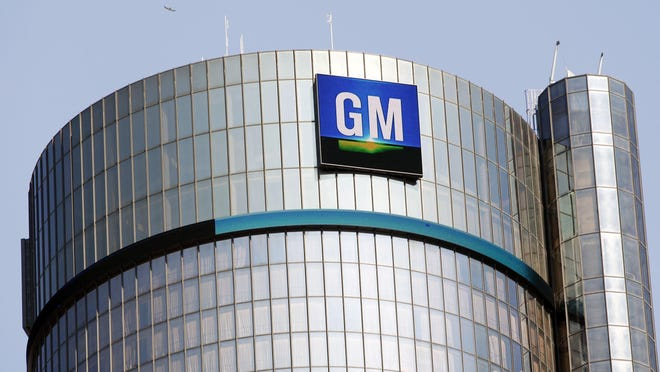 GM logo on the world headquarters building.