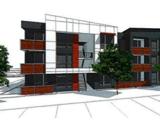 """Rendering of """"Residences on First,"""" the 24-unit market-rate"""