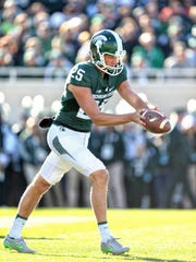 Michigan State junior punter Jake Hartbarger could be punting into 25 m.p.h. winds this weekend at Northwestern, close to Lake Michigan.