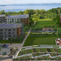 Aerial rendering of proposed residential development on former Burlington College property.