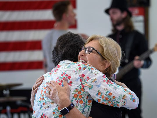 U.S. Rep. Diane Black greets supporters at a gathering to promote her GOP campaign for Tennessee governor June 24, 2018, at Johnson's Antique Car Barn in Franklin.