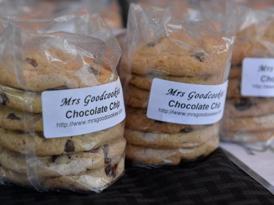 Chocolate chip cookies made by Mrs. Goodcookies, on display at a Summertime by George! booth on June 27, 2018.