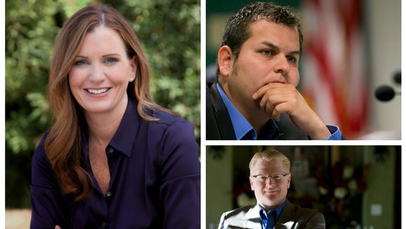 Arizona lawmakers (clockwise from left) Maria Syms,