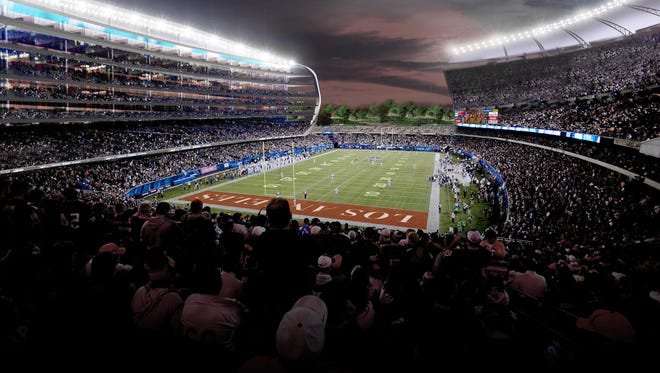 This undated artist rendering provided by MANICA Architecture shows a newly proposed NFL stadium in the city of Carson, Calif.
