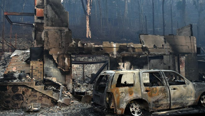 Apartments near the Park Vista hotel in Gatlinburg, Tenn., were destroyed in wildfires mixed with high winds earlier this week.